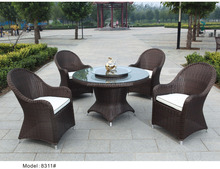 5 pc rattan dining set outdoor furniture garden wicker dining table & chair furniture