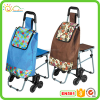Low price folding supermarket trolley luggage cart hot selling fashion nylon sport travel bag