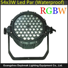 Professional Guangzhou stage lighting led par 54x3w rgbw dmx512 led par waterproof rate IP65 Cheaper price flight case pack