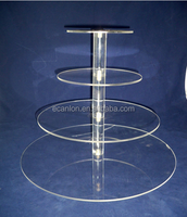 round clear 5 tier acrylic wedding cake stand for sale