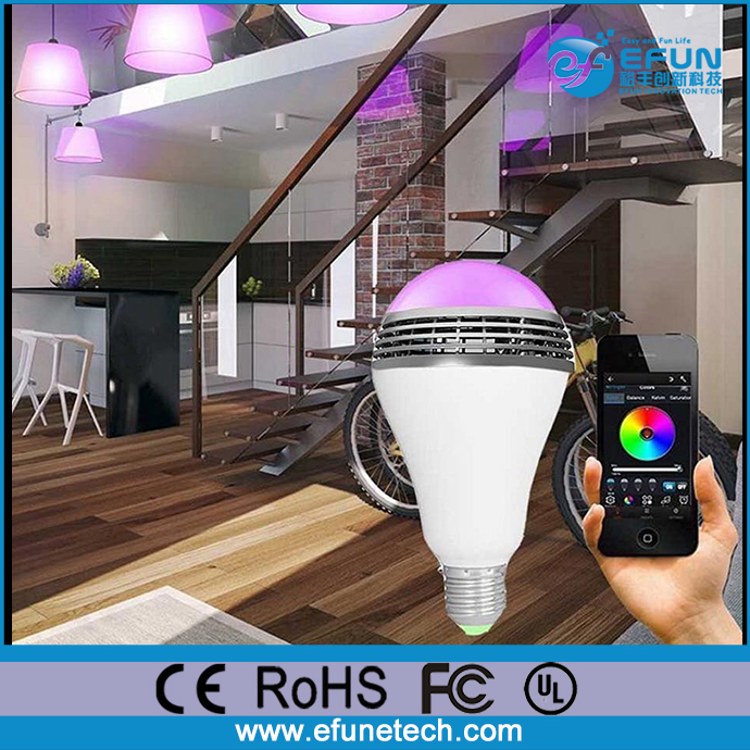 Android IOS APP remote control smart wireless bluetooth E27 color changing led light bulb with speaker