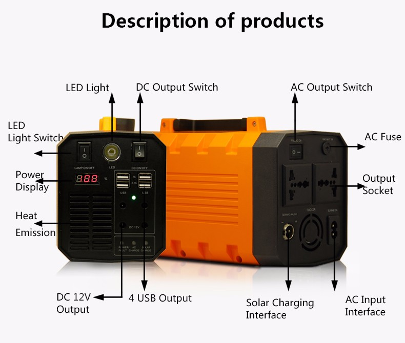 GLE 26Ah 500w Uninterruptible AC DC Power Supply UPS With LED Light