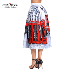 Ruffle Design Floral Print Midi Skirt for Women