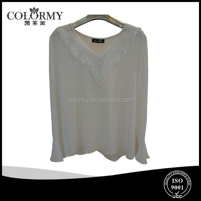 latest design ladies chiffon long sleeve flare sleeve tops V neckline blouse manufacutre