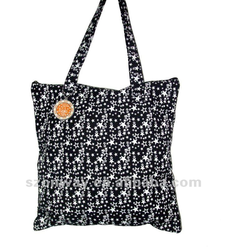 Classical design printing canvas tote bag
