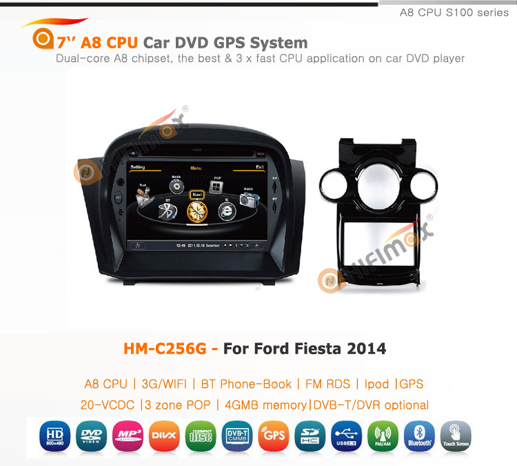 Hifimax car dvd gps for Ford Fiesta 2014 WITH A8 CHIPSET DUAL CORE 1080P V-20 DISC WIFI 3G INTERNET DVR