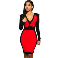 Hot wholesale sexy lady evening slim fit long sleeve black and red dresses