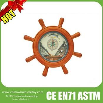 Wooden Ship Wheel Wall Clock