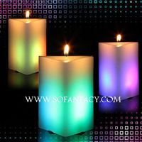 colour changing led wax candle light for wedding events,real wax candle