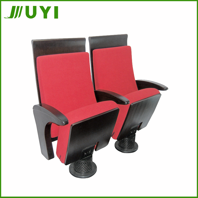 JY-920 plastic auditorium seats plastic back matel frame single metal leg fabric cover