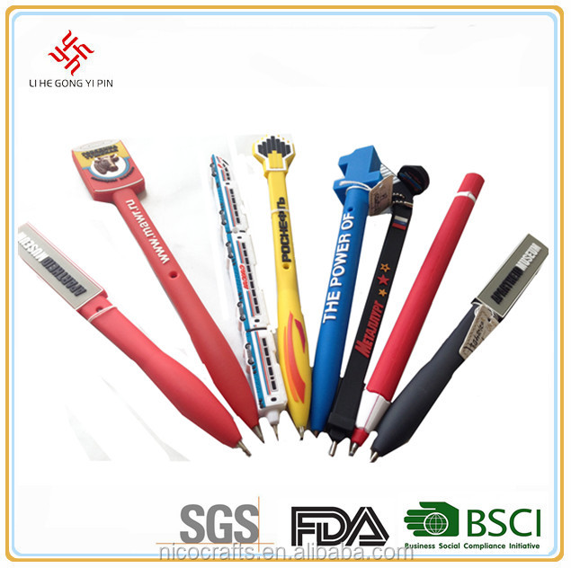 OEM Creative Shape PVC Silicone Promotional Cartoon Ball Point Pens Advertising Ball Pen