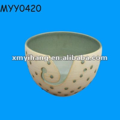 Fancy Ceramic vintage yarn holder bowl for wool storage for knitting