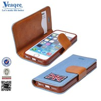 Veaqee popular Credit card slot wallet leather case for iphone 5