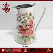 Spring rose printing flower pot Metal tin delicate ornaments galvanized water jug flower planter