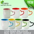 Personalized sublimation 11oz inner and rim color mug with heart shape handle