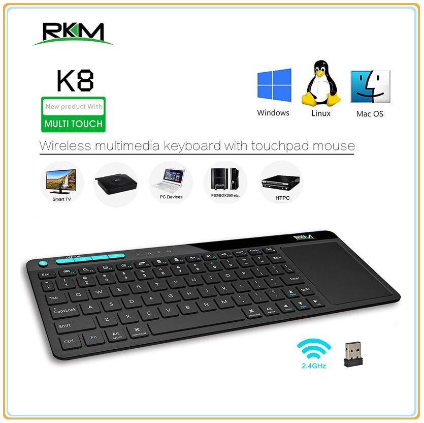 Rkm K8 Wireless Keyboard with Build-in Large Size Touchpad Mouse, Rechargable Li-ion Battery, for PC,Google Smart TV,Kodi