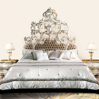 Luxury Royal Fine Carving Rococo Ornate Reproduction Tufted Bed, Classic Antique European Designed Bedroom Furniture BF12-06274d