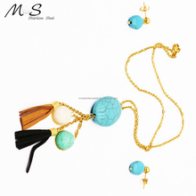 couple heart pendant jewelry fashion necklaces 24k gold dipped real rose earring set china suppliers new products JMS00063