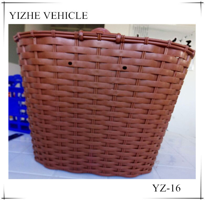 Brown electric bike basket with cover for sale