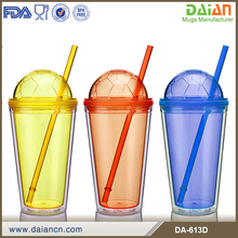 Double wall acryllic soccer tumbler with straw