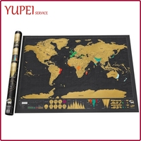Large Scratch Map of the World Enhanced Edition Gold on Black Frameable Traveler Poster