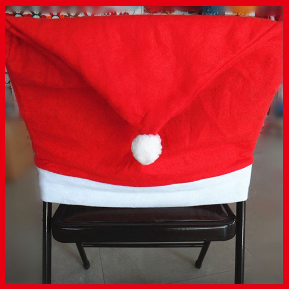 Fashion Santa Red Hat Chair Covers Christmas Decorations Dinner Chair Cap Sets