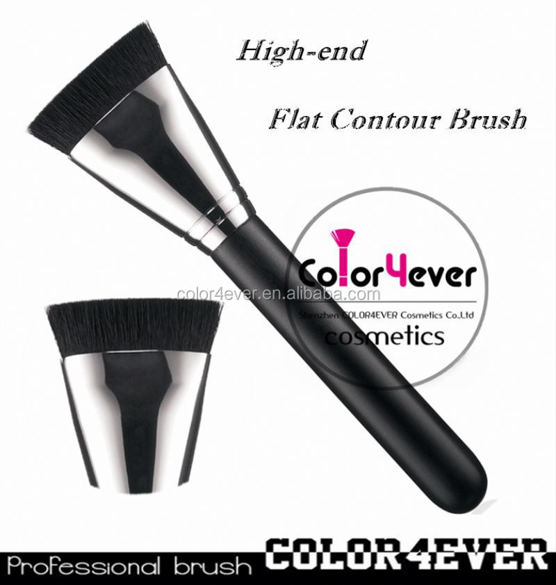Wholesale hot sell 163 flat contour makeup brush with copper 10 piece makeup brush set