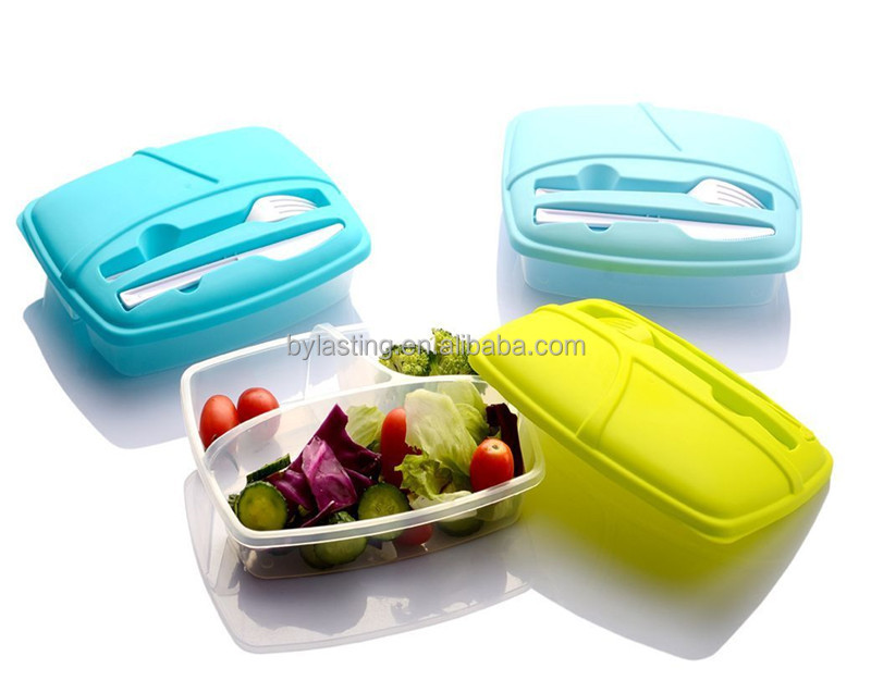 Food Microwave Safe Colorful Plastic Food Container with Cutlery 3 Compartment PP Plastic Bento Box
