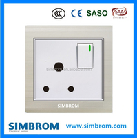 16A round pin socket and a switch. England UK Britain South Africa standard. electrical wall switch socket.