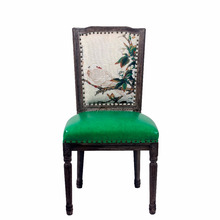 French green fancy antique barber design rubber wood dining chairs