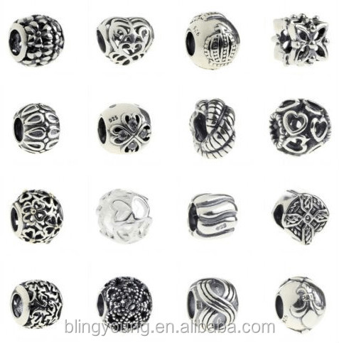 Custom logo oxidized 925 sterling silver loose beads