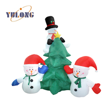 Artificial indoor inflatable christmas tree and snowman decoration