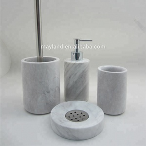 4pcs High Quality Custom White Marble Bathroom Set and Bath Accessories