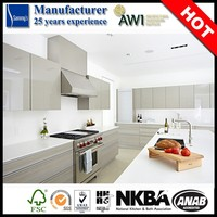 Modern High Gloss PVC Flat panel Plastic Kitchen Cabinet Invisible Handle