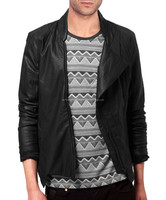 Paneled Sleeves Leather Jacket