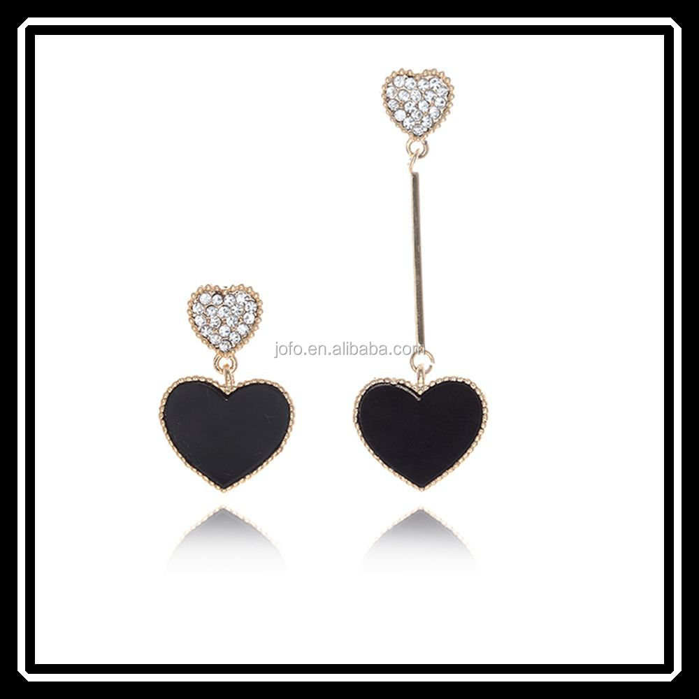 New Fashion Black Enamel Asymmetry Heart Dangle Earrings For Female JHJ0170