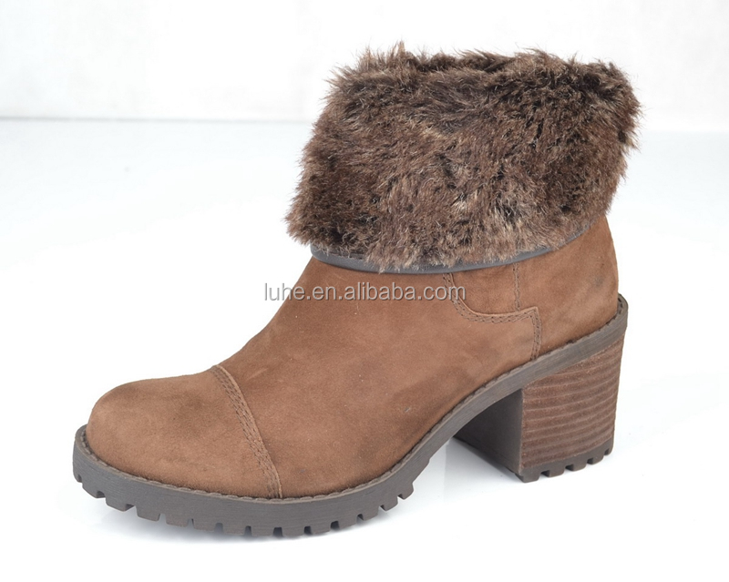 2017 Winter block heel tyre sole warm fur boots for women