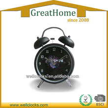 Metal real desk two bell ring alarm clock