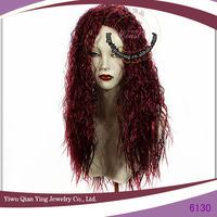 curly wine red color fashion synthetic party halloween wigs