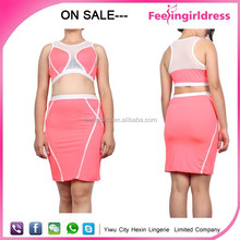 Chinese promotional clothing two piece bodycon dress pink sleeveless