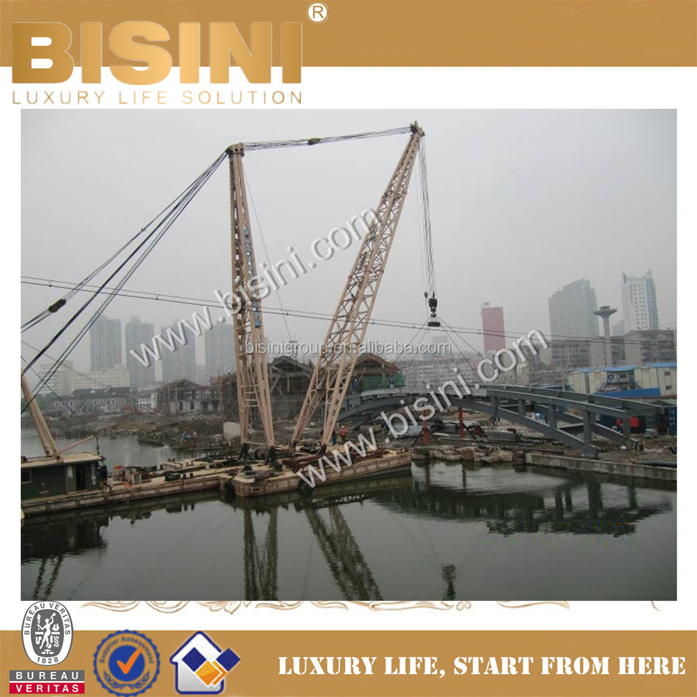 Using Hoists and Slings to Install Steel Structure Bridge, BISINI Design and Construction Inland River Landscape B (BF08-Y10047)