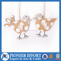 Wooden Birds with String Claw Hanging Ornament for Spring decoration