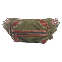 1006 Fashion Leisure Canvas Leather Men Waist Bag Pouch Bag Hip Bag for Sports