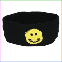 Yellow Smile Emoji Jacquard Acrylic Knitted Stretchy Headwear Headband