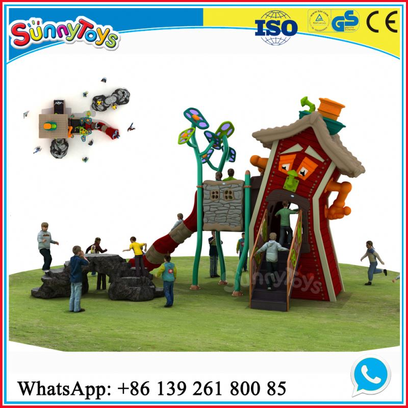 Kids outdoor plastic playground with slides for kindergarten metal swing set with slide