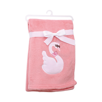 Swan Embroidered Baby Girl Blankets - Pink