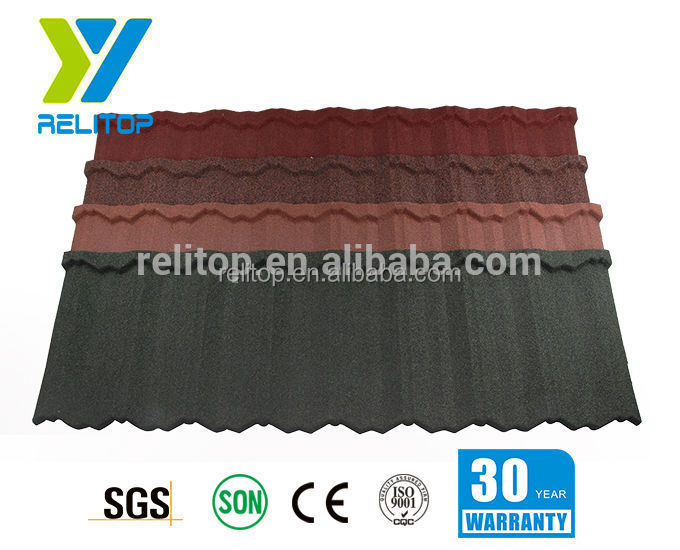 Colored stone antique corrugated steel roof tile