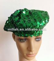 Party pop green sequin hat /lady's sequin beret MH-1523