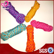 3mm mixed color braided cord coiled by hand , 100% Polyester braided rope