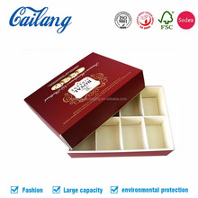 China supplier custom logo Solid Cardboard Plastic Dividers Insert Paper Chocolate Gift Box with several packs